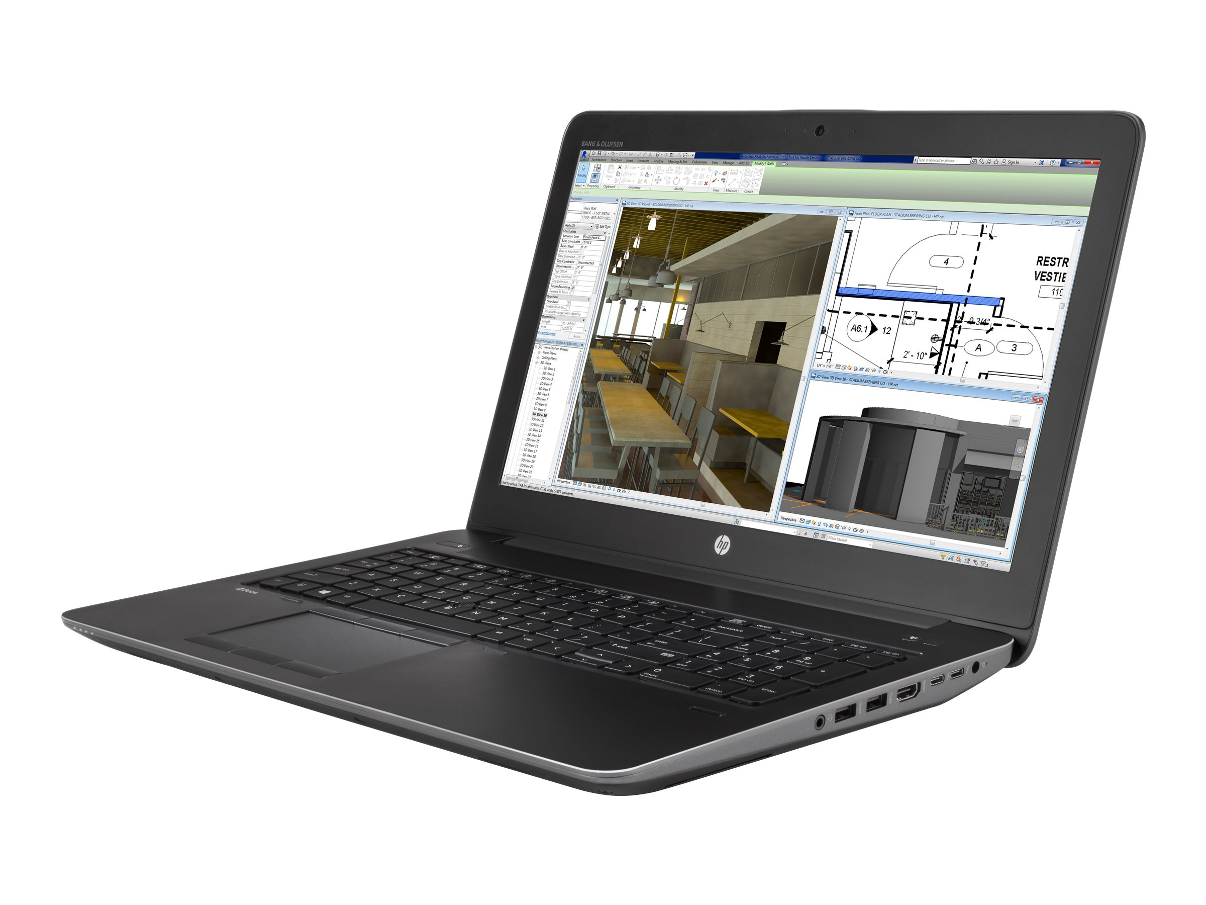 HP ZBook 15 G4 Core i7-7820HQ 2.9GHz 16GB 512GB SSD ac BT FR WC 9C M2200 15.6 FHD W10P64, 1JD35UT#ABA
