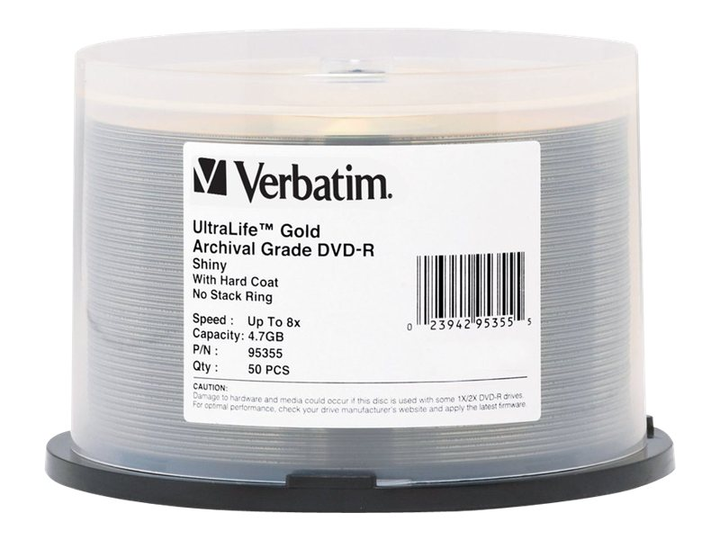 Verbatim 8x 4.7GB UltraLife Gold DVD-R Media (50-pack Spindle), 95355, 7042254, DVD Media