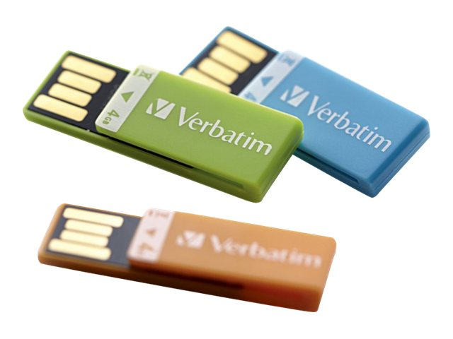Verbatim 4GB Clip-It USB Flash Drive, 3-Pack, Orange, Blue, Green, 97563
