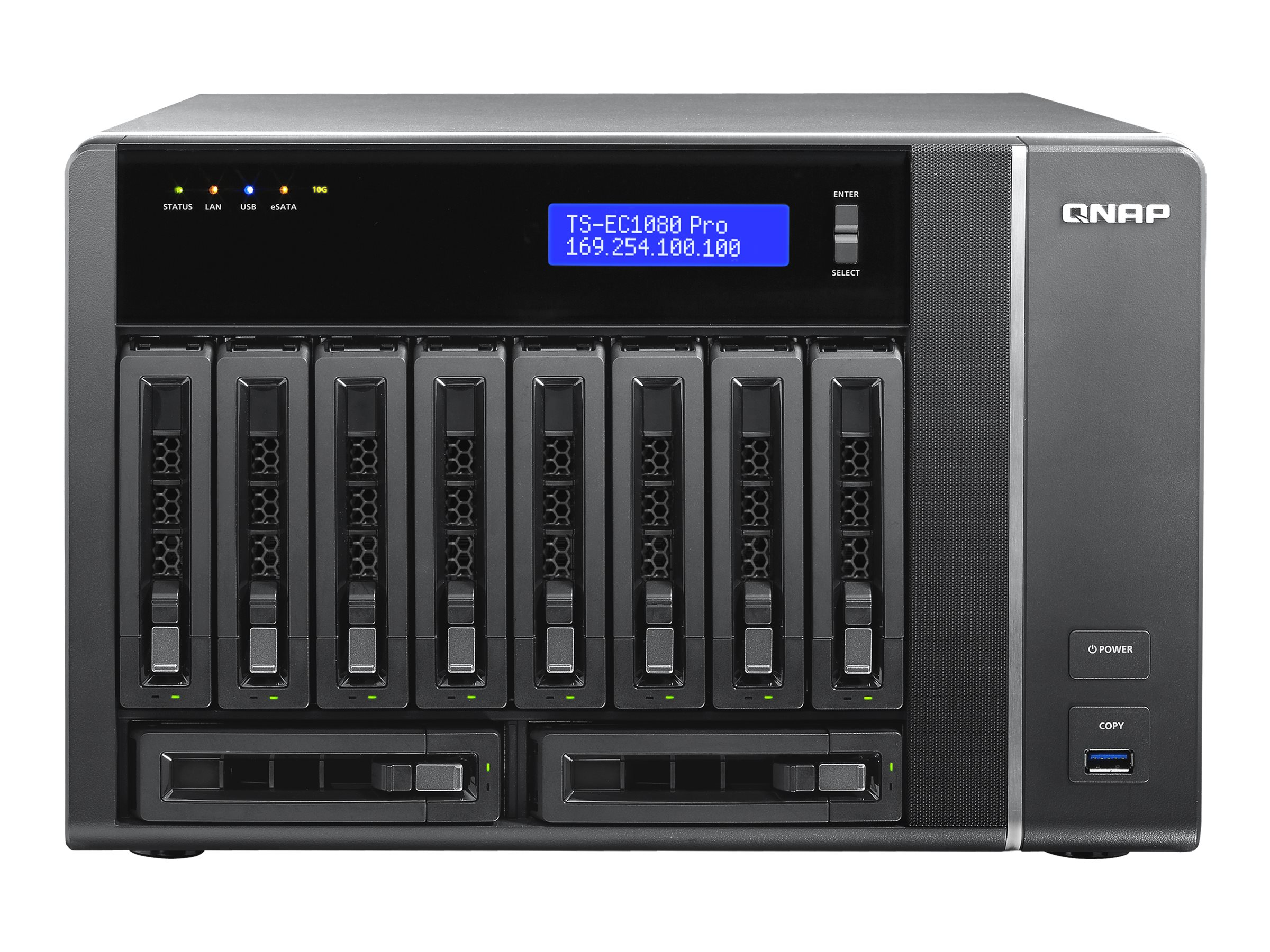 Qnap 10 Bay iSCSI Tower NAS, TS-EC1080-PRO-US, 17539774, Network Attached Storage