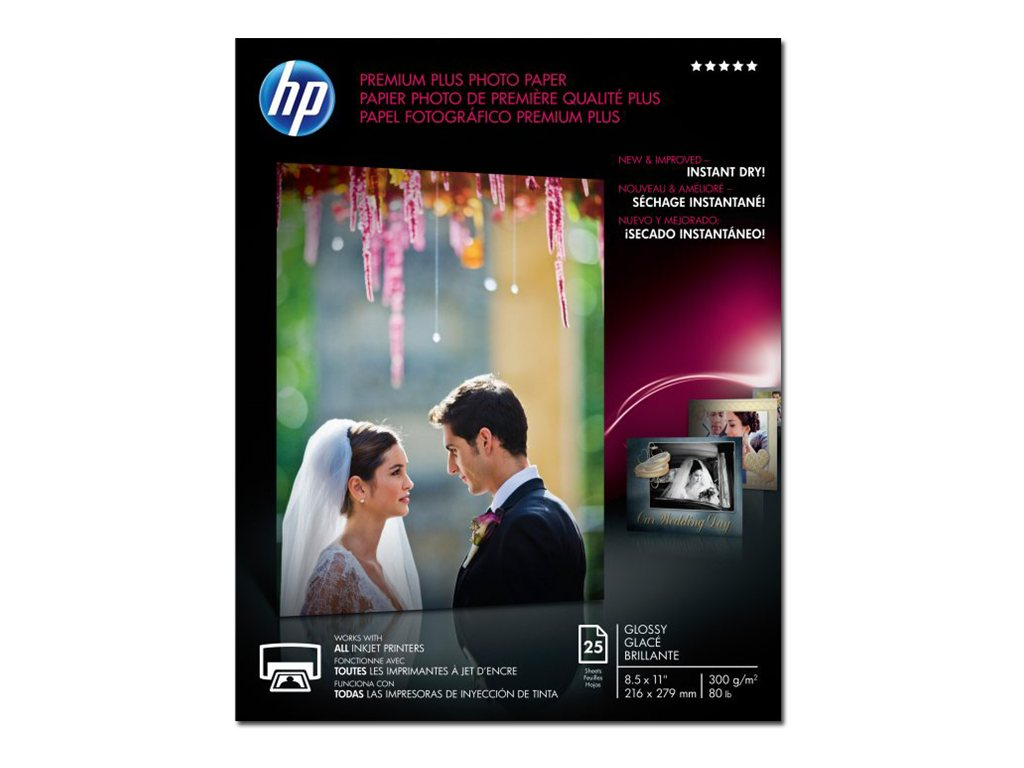 HP 8.5 x 11 Premium Plus Glossy Photo Paper (25 Sheets), CR670A, 12896756, Paper, Labels & Other Print Media