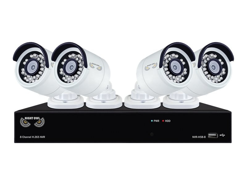 Night Owl 8-Channel H.265 NVR with 2TB HDD and 4x 4MP Cameras