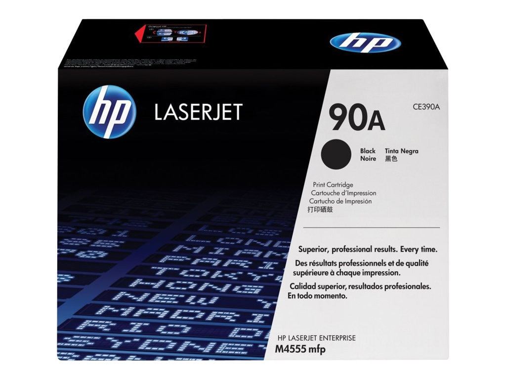 HP 90A (CE390A) Black Original LaserJet Toner Cartridge for HP LaserJet M4555h & M601 2 3, CE390A, 12485092, Toner and Imaging Components