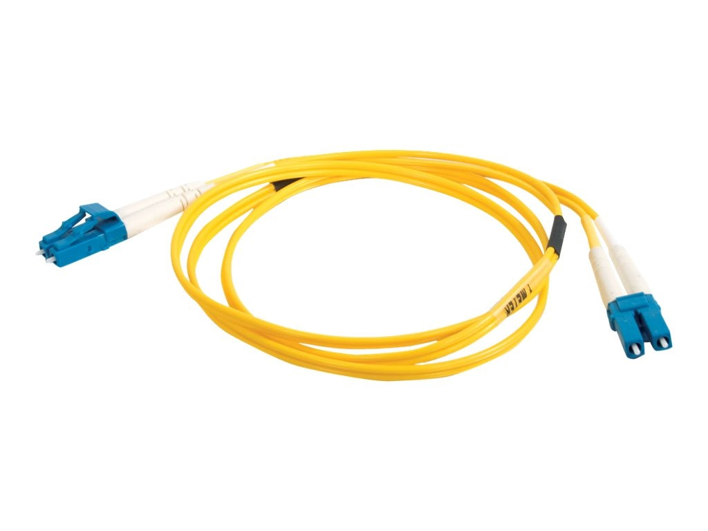 C2G LC-LC 9 125 OS1 Singlemode Duplex PVC Fiber Optic Cable, Yellow, 1m, 29191, 6209059, Cables