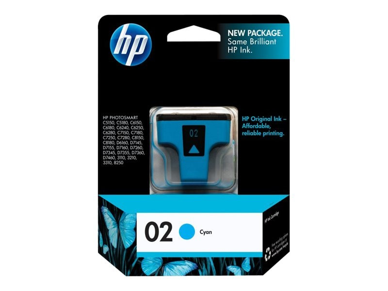 HP 02 (C8771WN) Cyan Original Ink Cartridge, C8771WN#140, 7885411, Ink Cartridges & Ink Refill Kits