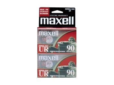 Maxell UR-90 Blank Audio Cassette Tape, 2-Pack, 108527