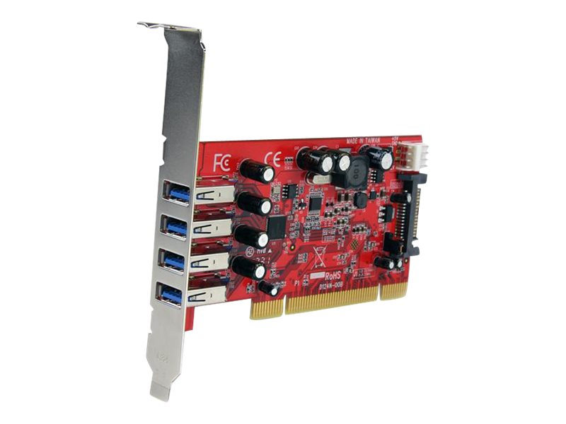StarTech.com 4-Port PCI SuperSpeed USB 3.0 Adapter Card with SATA   SP4 Power, PCIUSB3S4