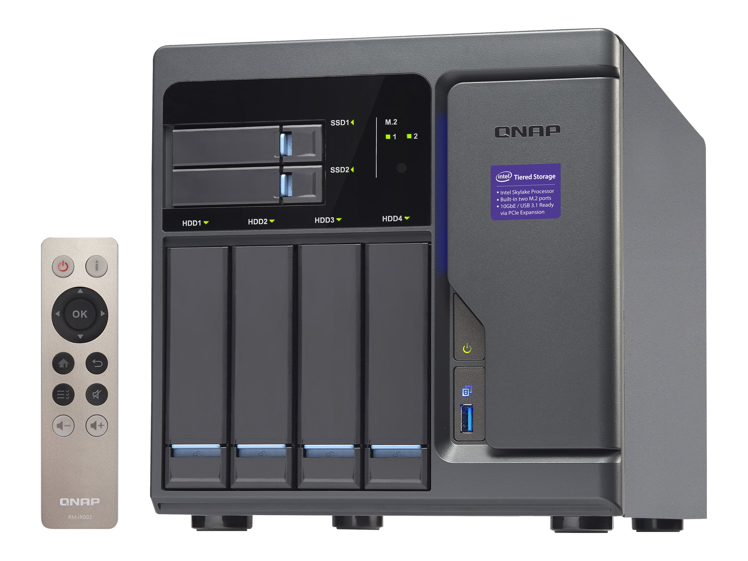 Qnap High Performance 6-Bay 4+2 Thunderbolt 2 DAS NAS iSCSI IP-SAN, TVS-682T-I3-8G-US