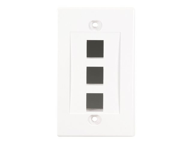 Black Box Single Gang Wallplate 3-Port, White (5-pack)