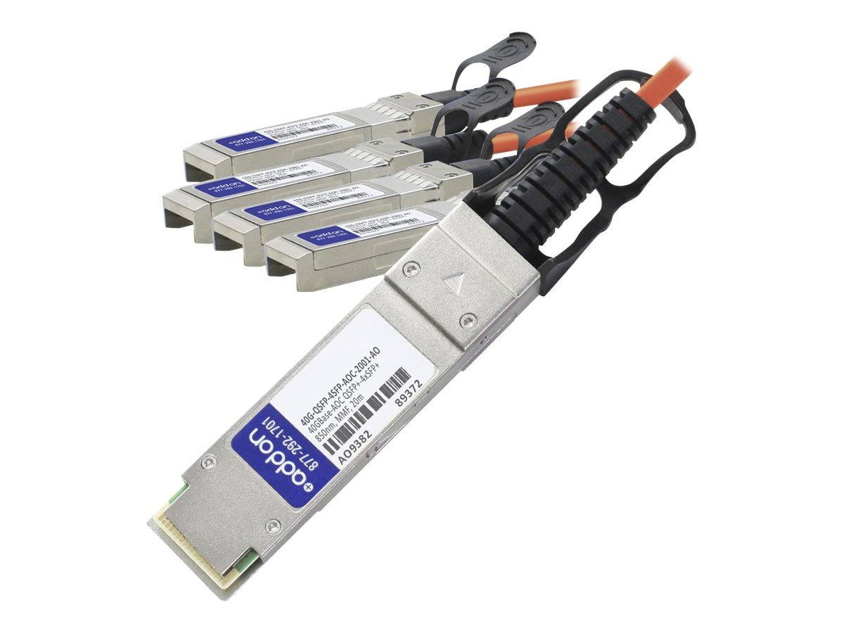 ACP-EP Brocade Compatible 40GBase-AOC QSFP+ to 4xSFP+ Direct Attach Cable, 20m, 40GQSFP4SFPAOC2001AO