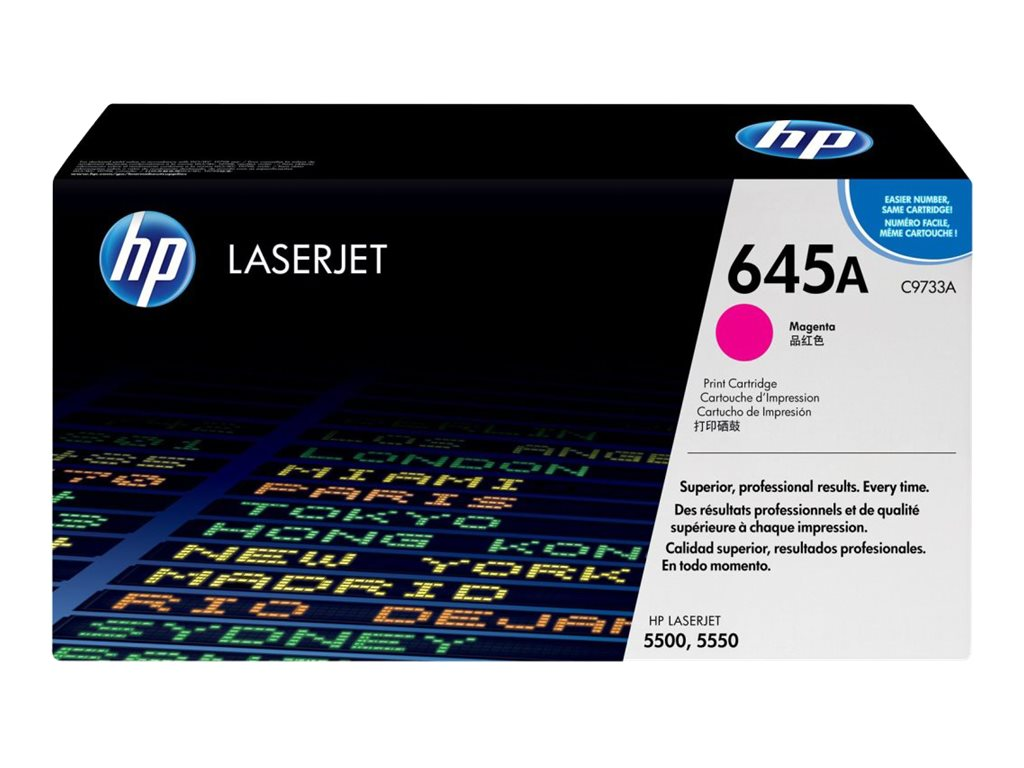 HP 645A (C9733A) Magenta Original LaserJet Toner Cartridge for HP Color LaserJet 5500 Printers, C9733A, 403947, Toner and Imaging Components