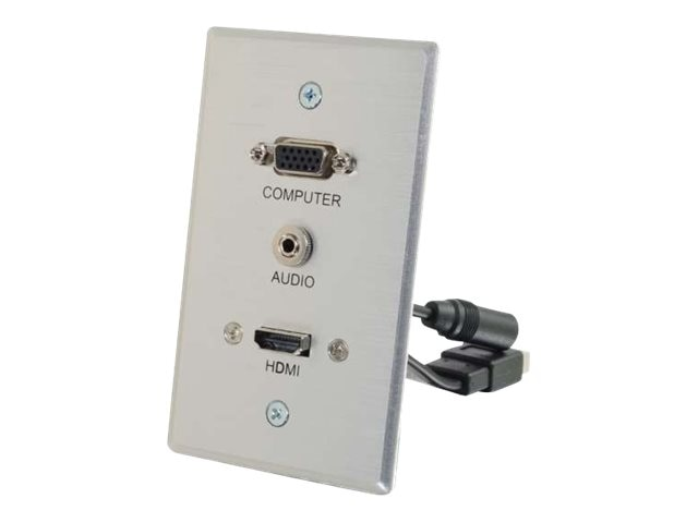C2G HDMI, VGA + 3.5mm Pass Through Single Gang Wall Plate, Aluminum, 60144, 17649990, Premise Wiring Equipment