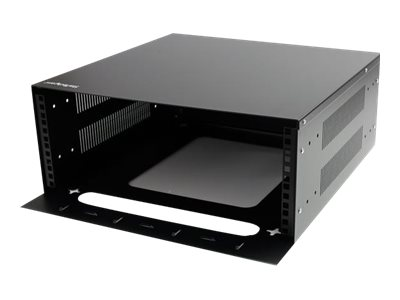 StarTech.com Horizontal Wall Mountable Server Rack, Steel, 4U x 19, Black, RK419WALVO