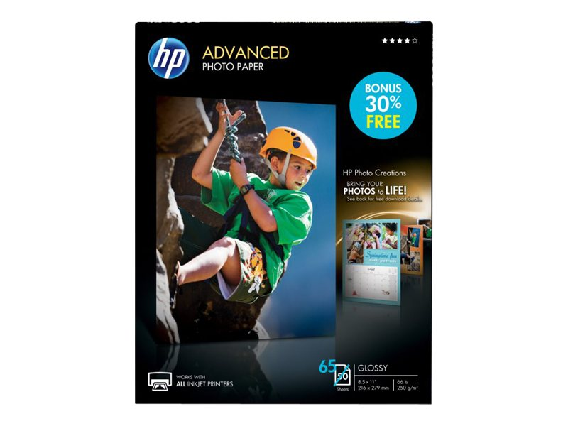HP 8.5 x 11 Advanced Glossy Photo Paper (50-Sheets), Q7853A, 6221912, Paper, Labels & Other Print Media