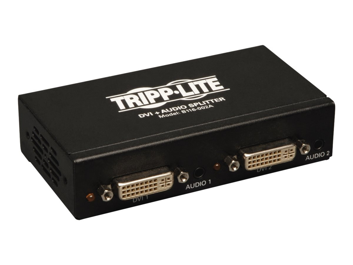 Tripp Lite 2-Port DVI Single Link Splitter Audio and Signal Booster, DVI F 2xF, B116-002A