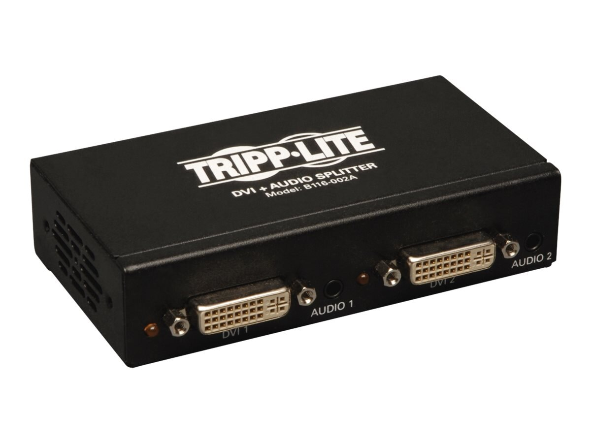 Tripp Lite 2-Port DVI Single Link Splitter Audio and Signal Booster, DVI F 2xF