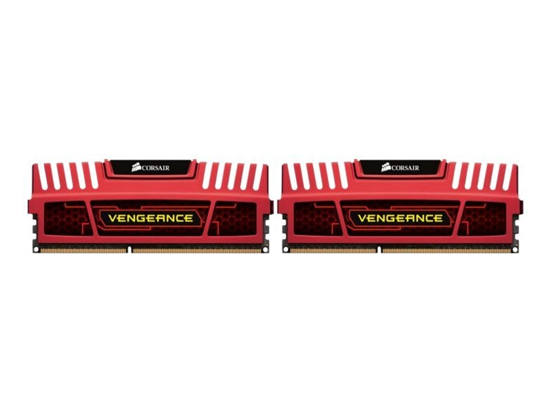 Corsair 16GB (2x8GB) Vengeance 240-pin PC3-12800 1600MHz DDR3 DIMM Kit, Red, CMZ16GX3M2A1600C10R
