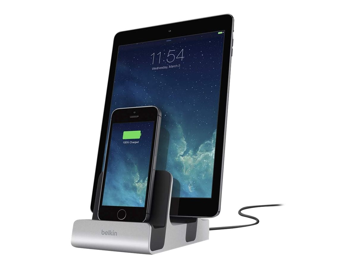 Belkin Dual Lightning Charging Dock, F8J135TT, 30573635, Battery Chargers
