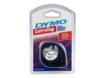DYMO 1 2 x 12' LetraTag Label - Silver Metallic Tape with Black Printing, 91338, 193621, Paper, Labels & Other Print Media