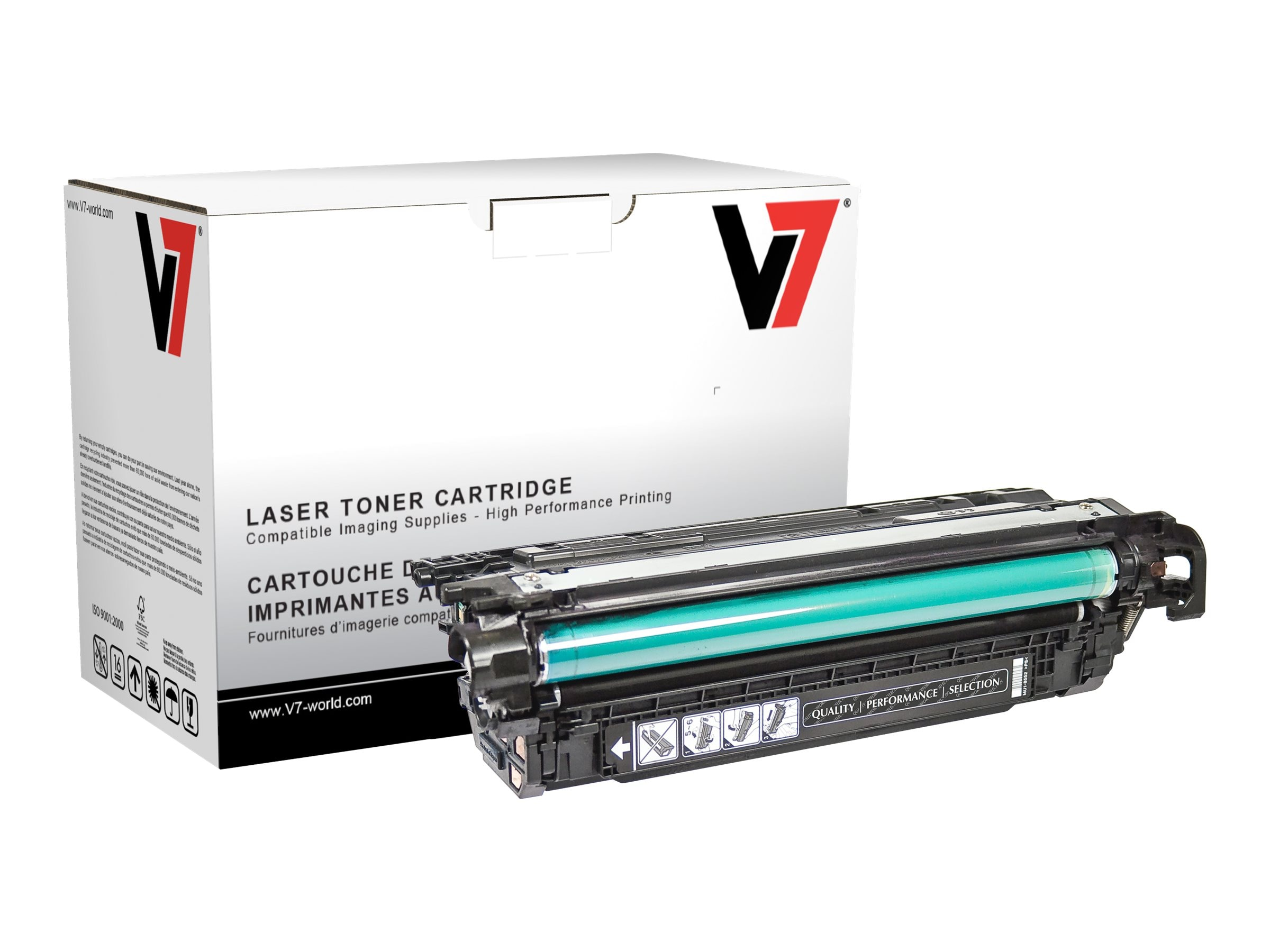 V7 CE260A Black Toner Cartridge for HP LaserJet P4025 4525 (TAA Compliant), THK2260A