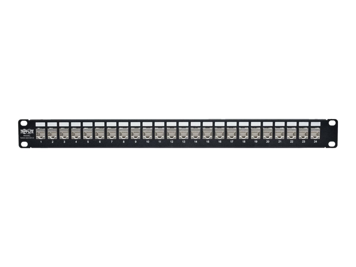Tripp Lite 24-Port RJ45 Ethernet Rack-Mount STP Shielded Cat6a Feedthrough Patch Panel, N254-024-SH-D