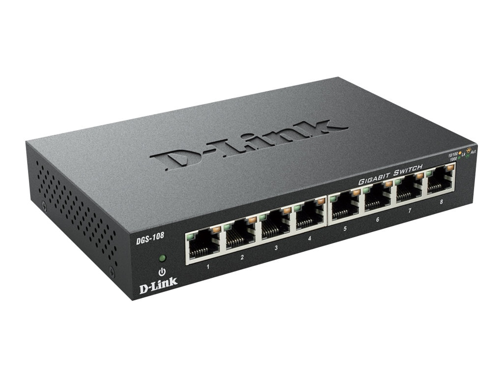 D-Link 8-Port Gigabit Ethernet Switch, Metal Chassis, DGS-108