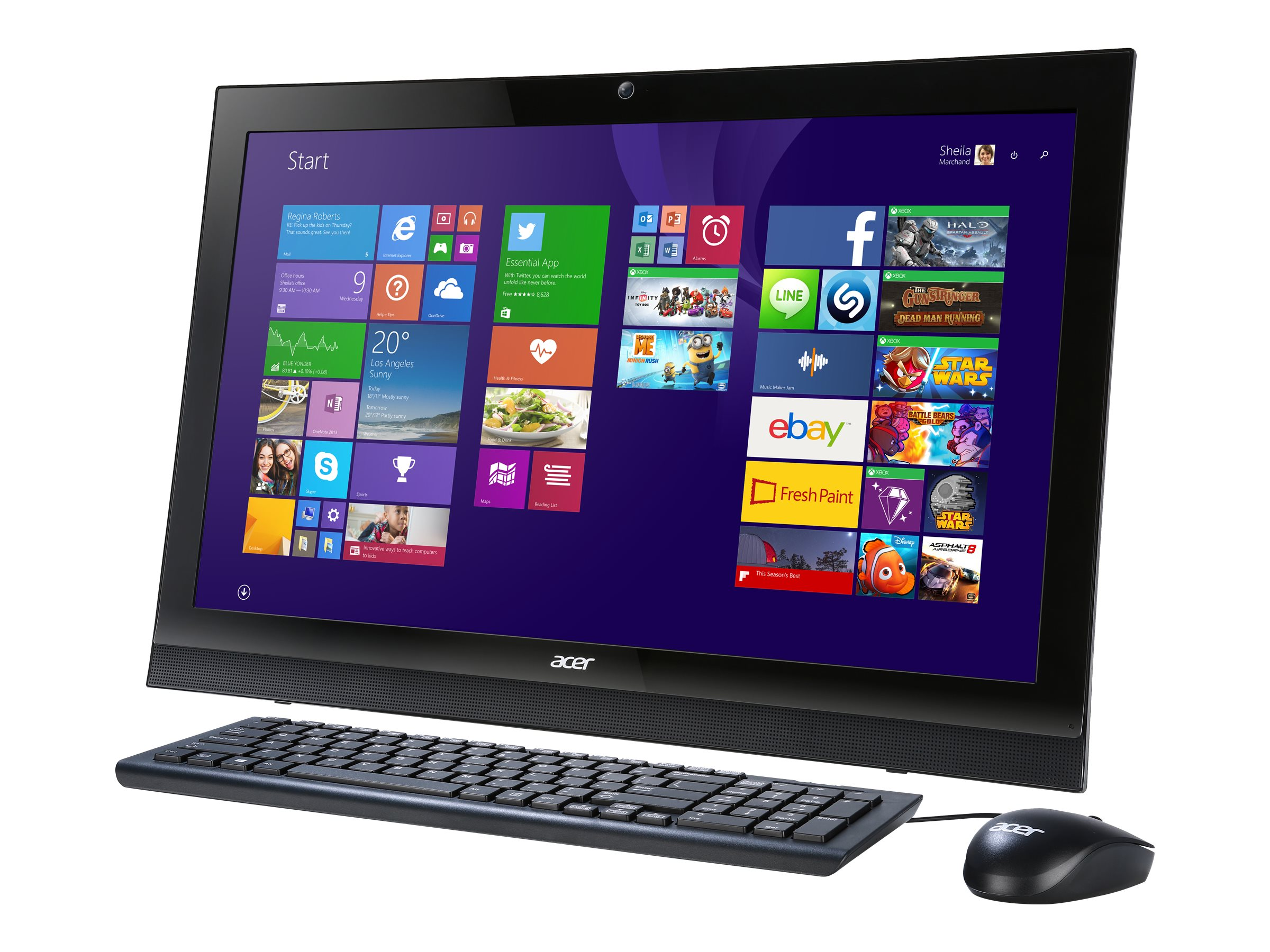 Acer Aspire AZ1-623-UR53 AIO Core i3-4005U 1.7GHz 8GB 1TB DVD SM GbE ac BT WC 21.5 Touch W10H64