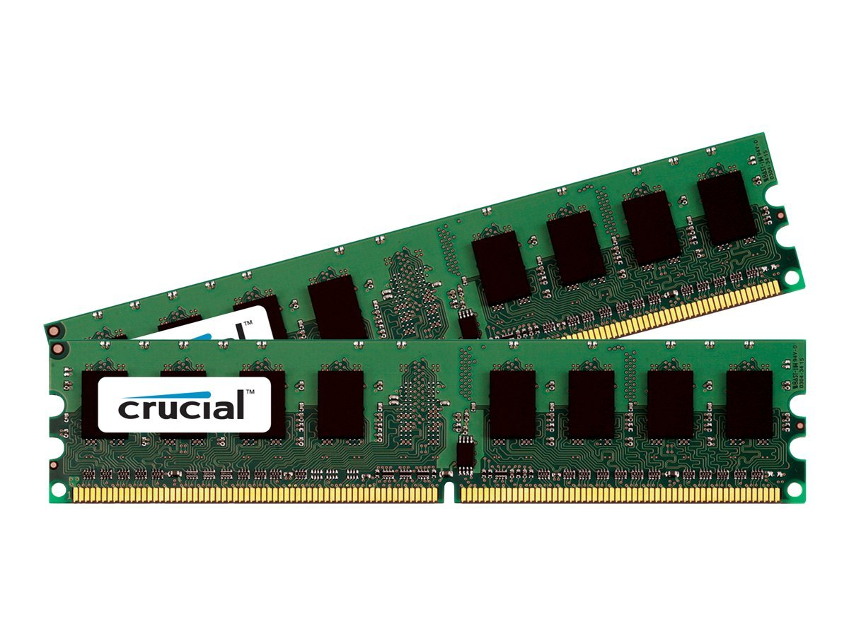 Crucial 4GB PC2-8500 240-pin DDR2 SDRAM DIMM Kit, CT2KIT25664AA1067, 10455295, Memory