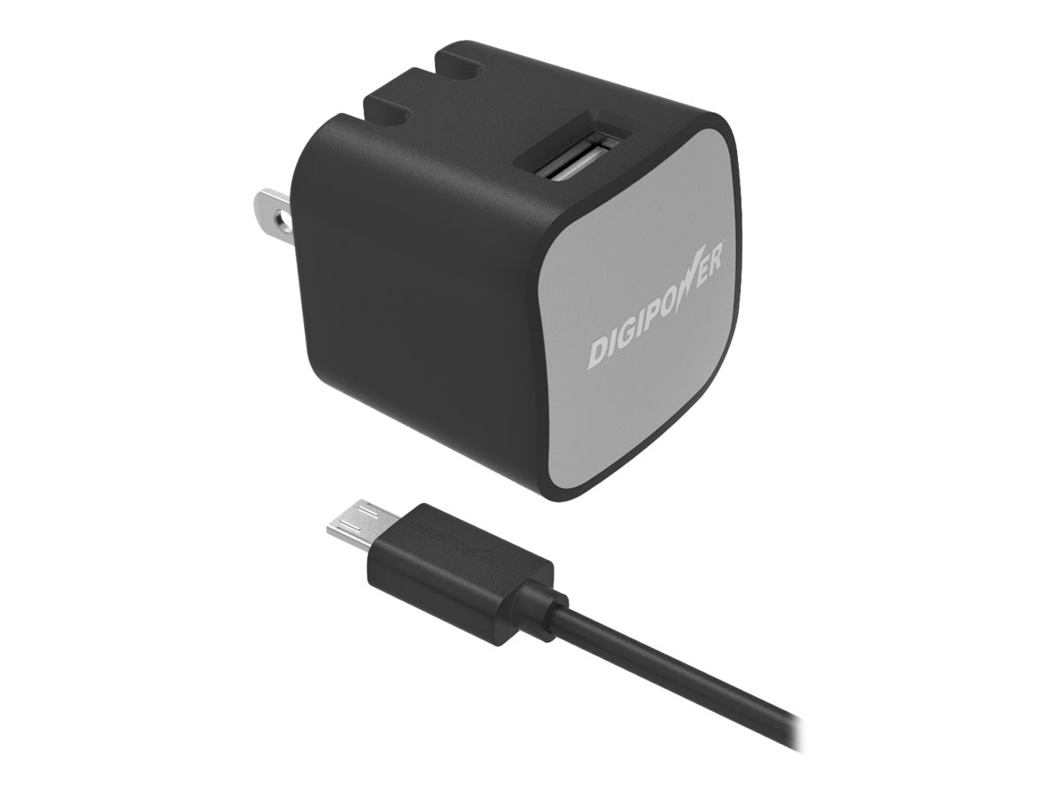 DigiPower USB Wall Charger Kit, 2.4A, 1.5m Micro-USB Cable