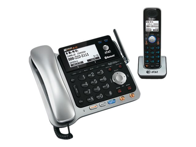 AT&T DECT 6.0 2-Line Corded Cordless Connect to Cell Answering System with Caller ID Call Waiting