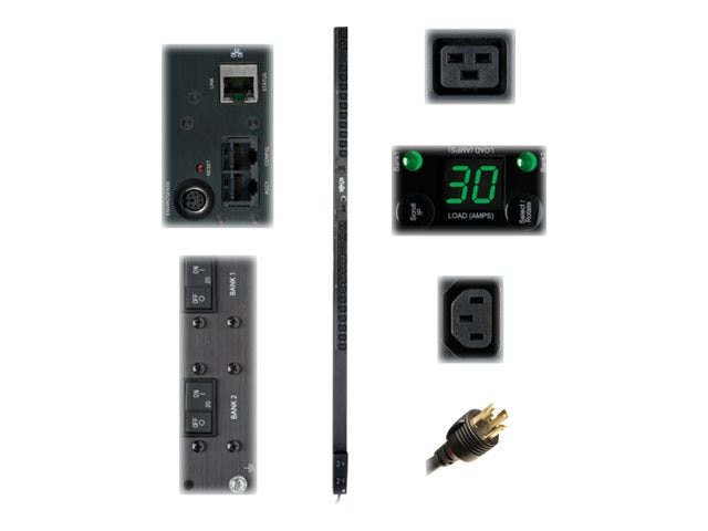 Tripp Lite PDU Monitored 208V 240V 30A (20) C13 (4) C19 L6-30P Vertical 0U RM, PDUMNV30HV, 10544335, Power Distribution Units