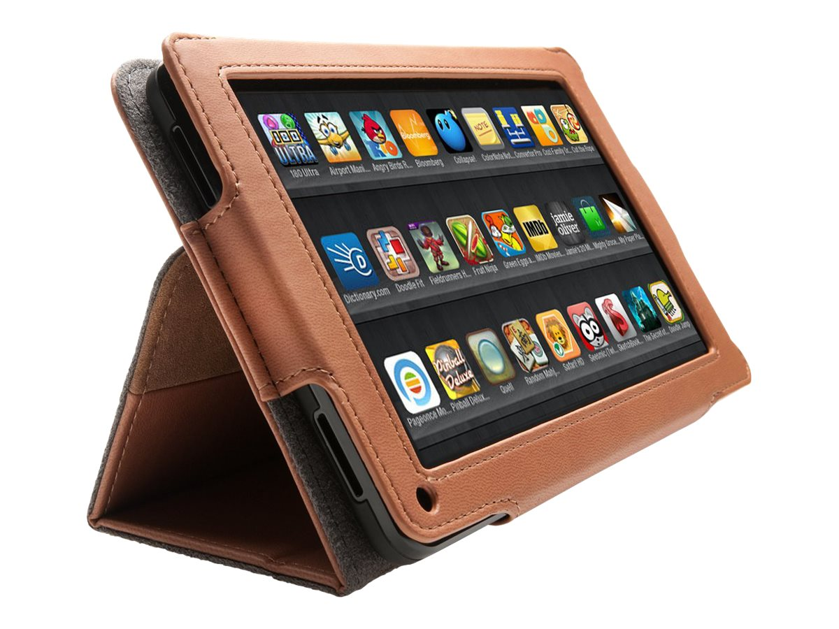 Kensington Folio Case and Stand for Kindle Fire, Brown, K39590WW, 14274096, Carrying Cases - Tablets & eReaders
