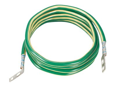 Panduit Dual Termination Ground Jumper, #6AWG, Green Yellow Stripe, 10ft