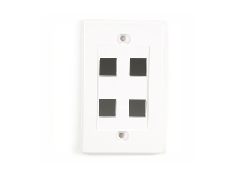 Black Box Connect Wallplate Single-Gang, White, 4-Port (5-pack), WPWH-4-5PAK