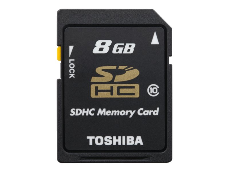 Toshiba 8GB SDHC Flash Memory Card, Class 10, PFS008U-1DCK, 16450090, Memory - Flash