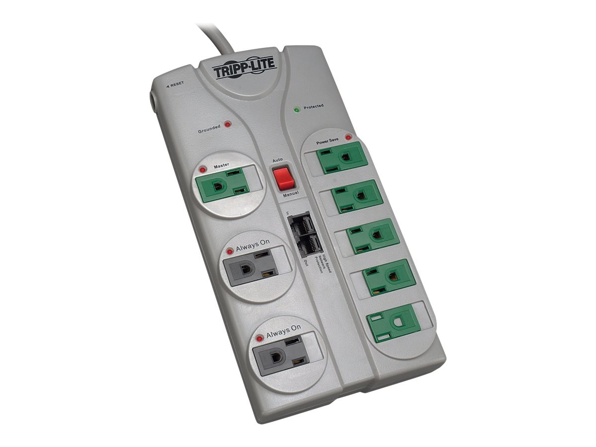 Tripp Lite ECO Green Surge Suppressor (8) Outlets RJ-11 8ft Cord, TLP808NETG