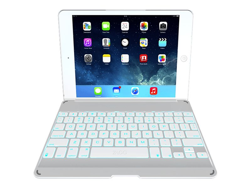 Zagg ZAGGkeys Folio w  Backlit Keyboard for Apple iPad Air, White, ZKFHFWHLIT105, 16890298, Keyboards & Keypads