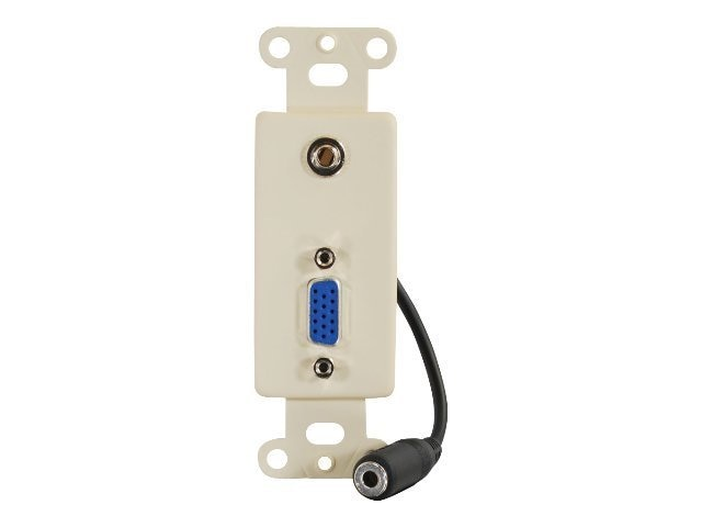 C2G Decorative HD15 and 3.5mm Jack Insert Ivory, 37092, 7005728, Premise Wiring Equipment