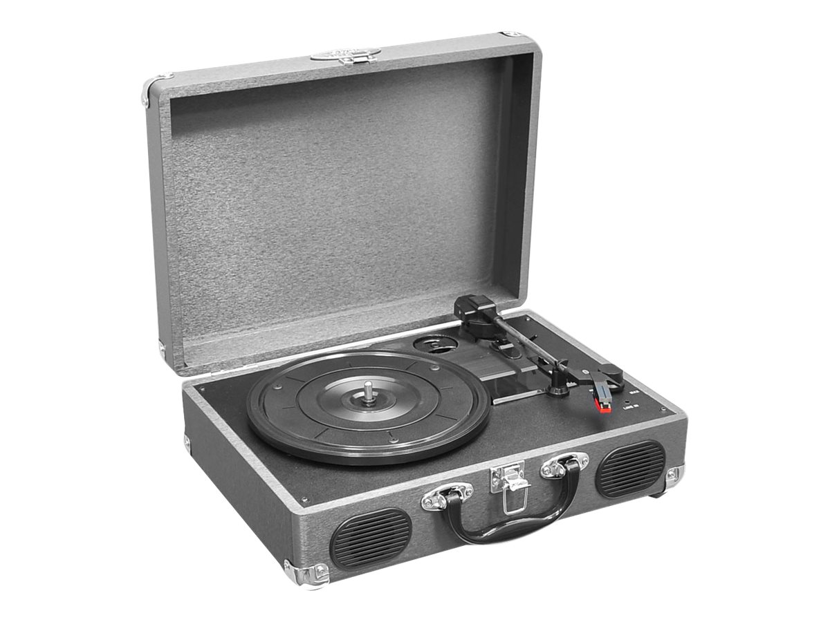Pyle Retro Belt-Drive Turntable with USB-to-PC Connection, Rechargeable Battery - Gray