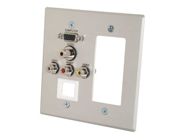 C2G Decora-Style Cut-Out Wall Plate Double Gang HD15, 3.5mm, RCA Audio Video, Keystone, Brushed Aluminum