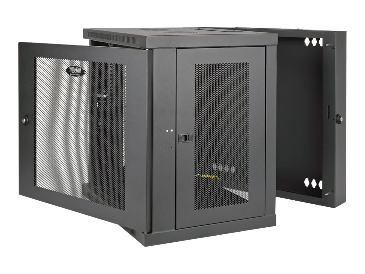 Tripp Lite SmartRack 12U UPS-Depth Wall-Mount Rack Enclosure Cabinet, Hinged Back, Black, SRW12USDP