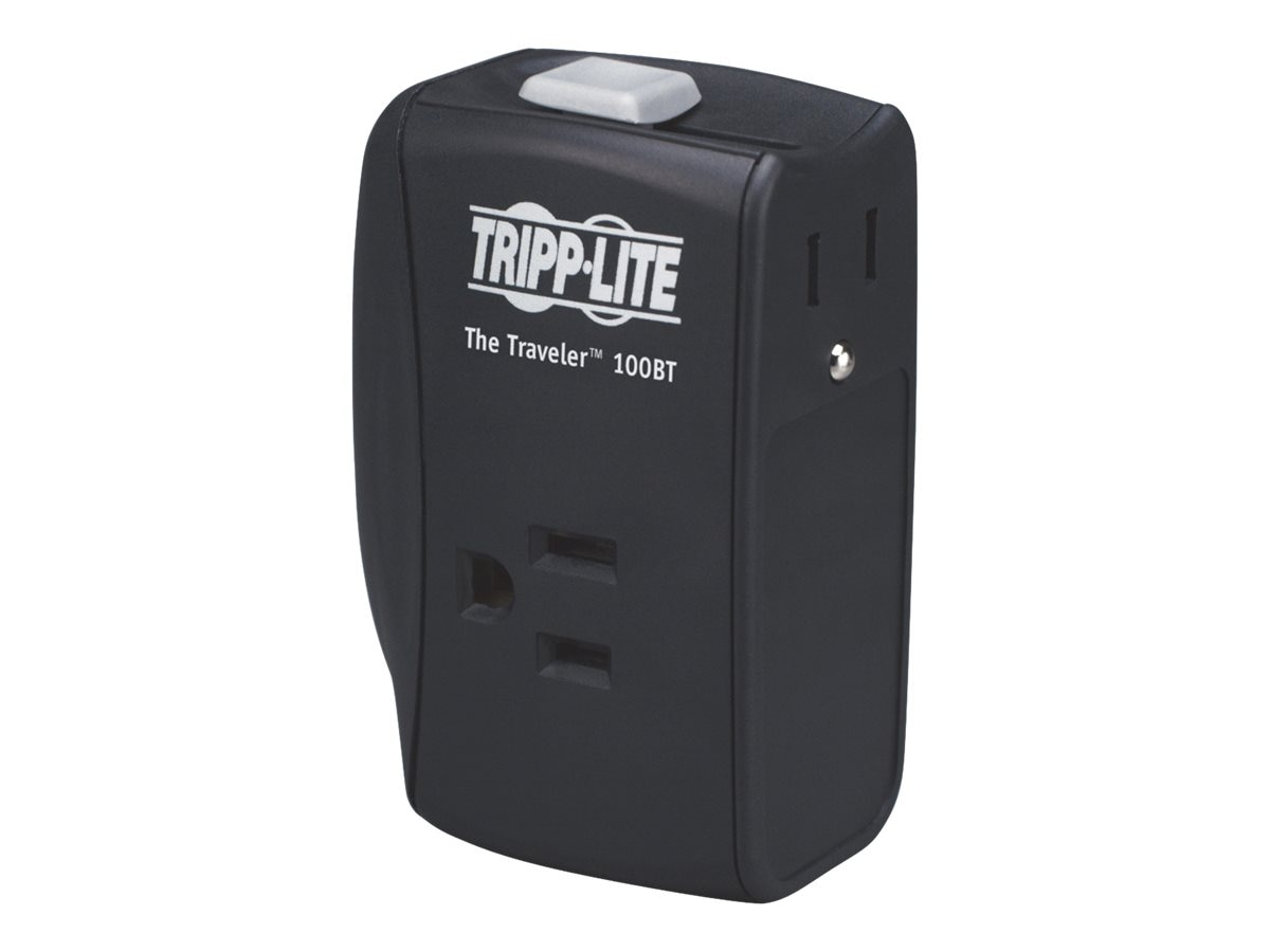 Tripp Lite Protect It! Surge (2) Outlet (2 Transformers) for Laptop Dir Plug 1050 Joules, TRAVELER100BT