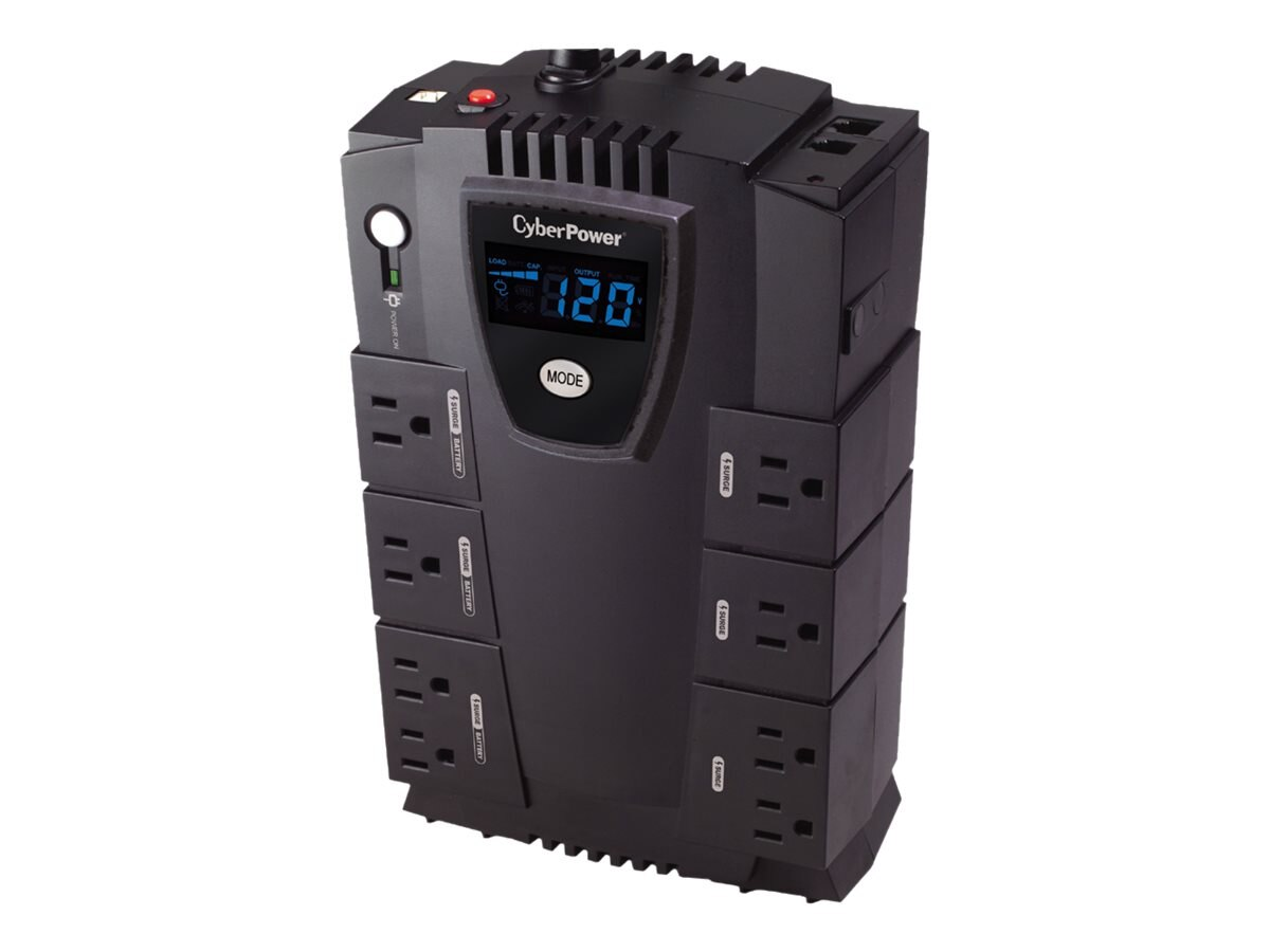 CyberPower Home Office Series 825VA 450W UPS with LCD, Phone Network Protection, CP825LCD
