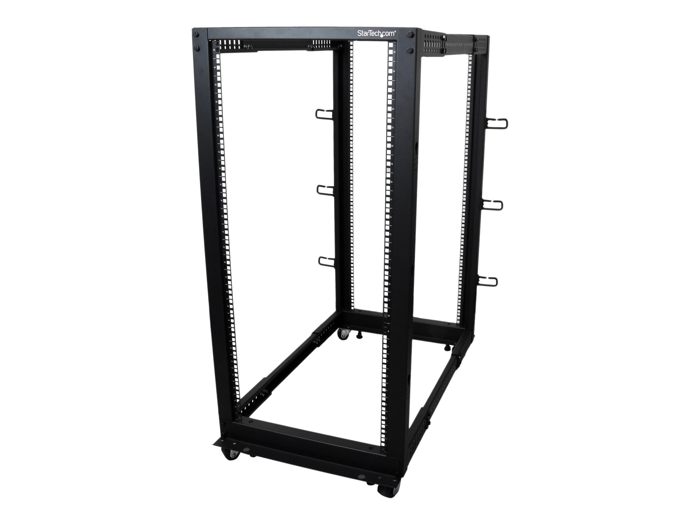 StarTech.com 25U Adjustable Depth Open Frame 4 Post Server Rack with Casters Levelers and Cable Management Hooks
