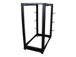 StarTech.com 25U Adjustable Depth Open Frame 4 Post Server Rack with Casters Levelers and Cable Management Hooks, 4POSTRACK25U, 17904559, Racks & Cabinets