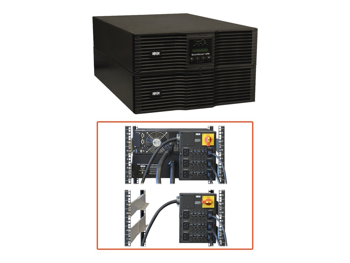 Tripp Lite SmartOnline Global 10,000VA 8,000W 230V 6U Rack Tower UPS with Expandable Runtime, (6) C19 Outlets, SU10000RT3UG