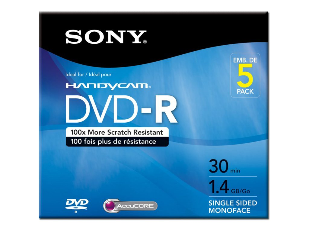 Sony 1.4GB 8cm DVD-R Camcorder Media (5-pack Jewel Cases), 5DMR30R1H, 8937359, DVD Media
