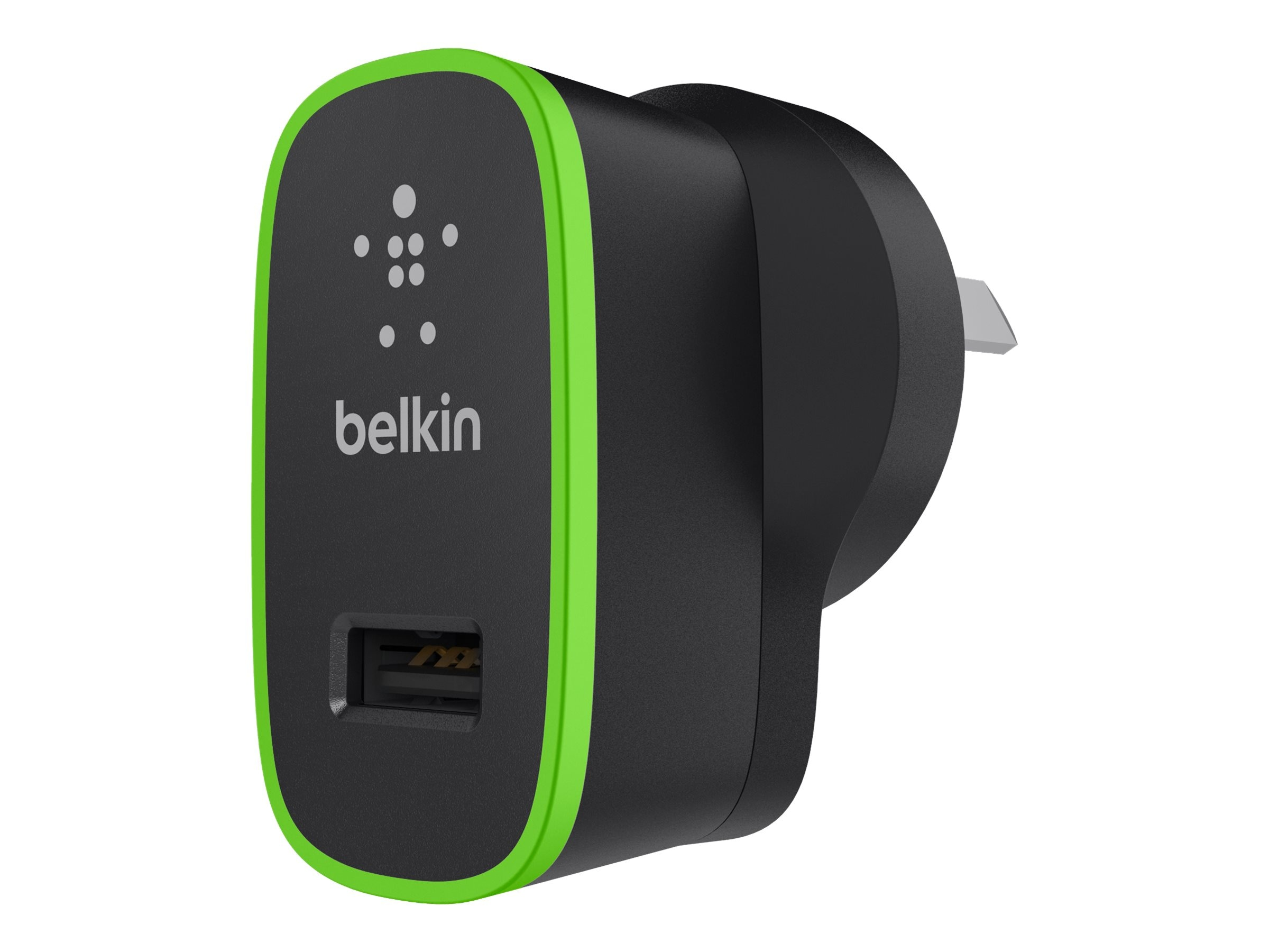 Belkin Home Charger 5V 2.1 Amp, Black w  Green Accent
