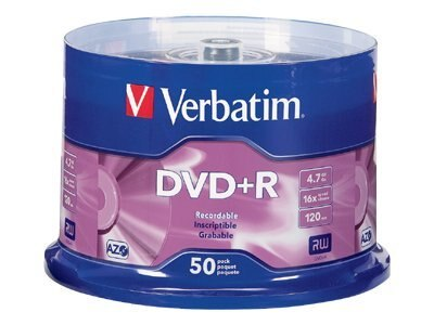 Verbatim 16x 4.7GB Branded DVD+R Media (50-pack Spindle), 95037, 5794137, DVD Media