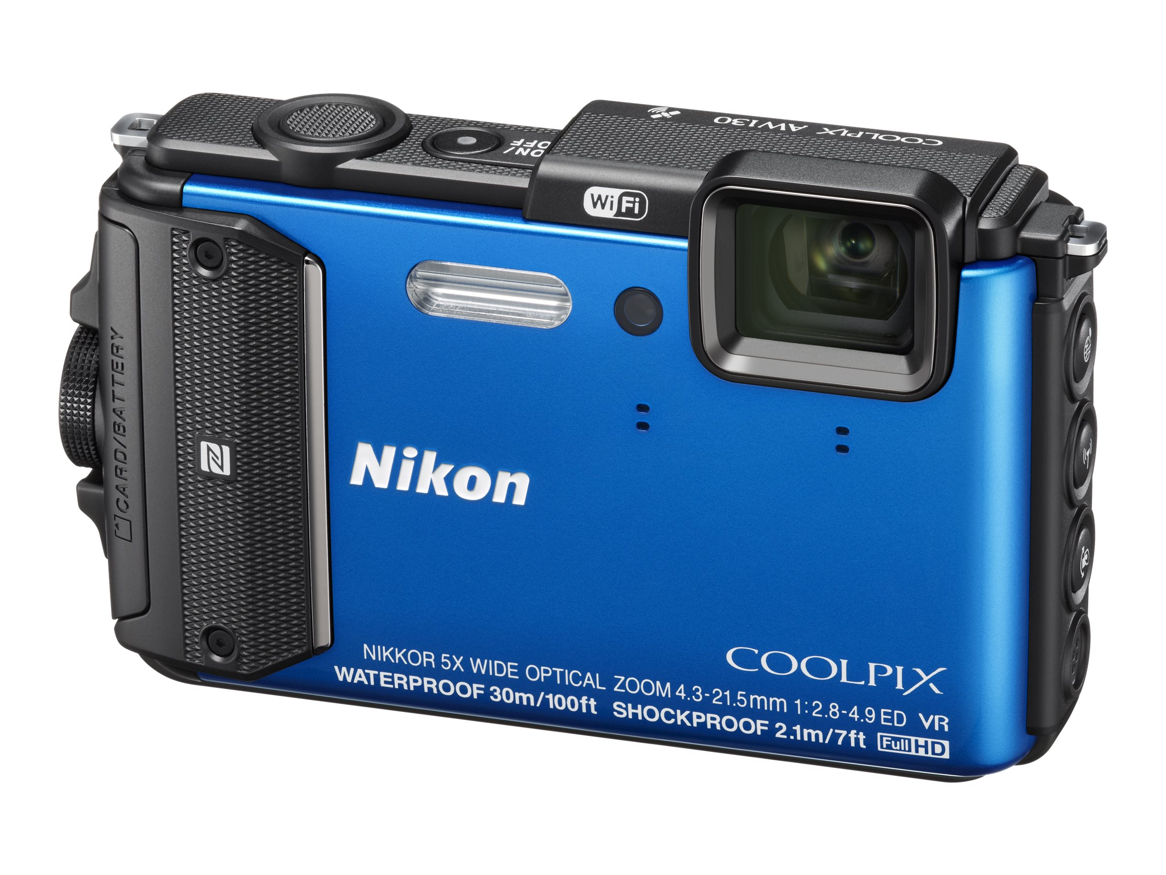 Nikon COOLPIX AW130 Waterproof Digital Camera, 16MP, 5x Zoom, Blue, 26492, 19249130, Cameras - Digital - Point & Shoot